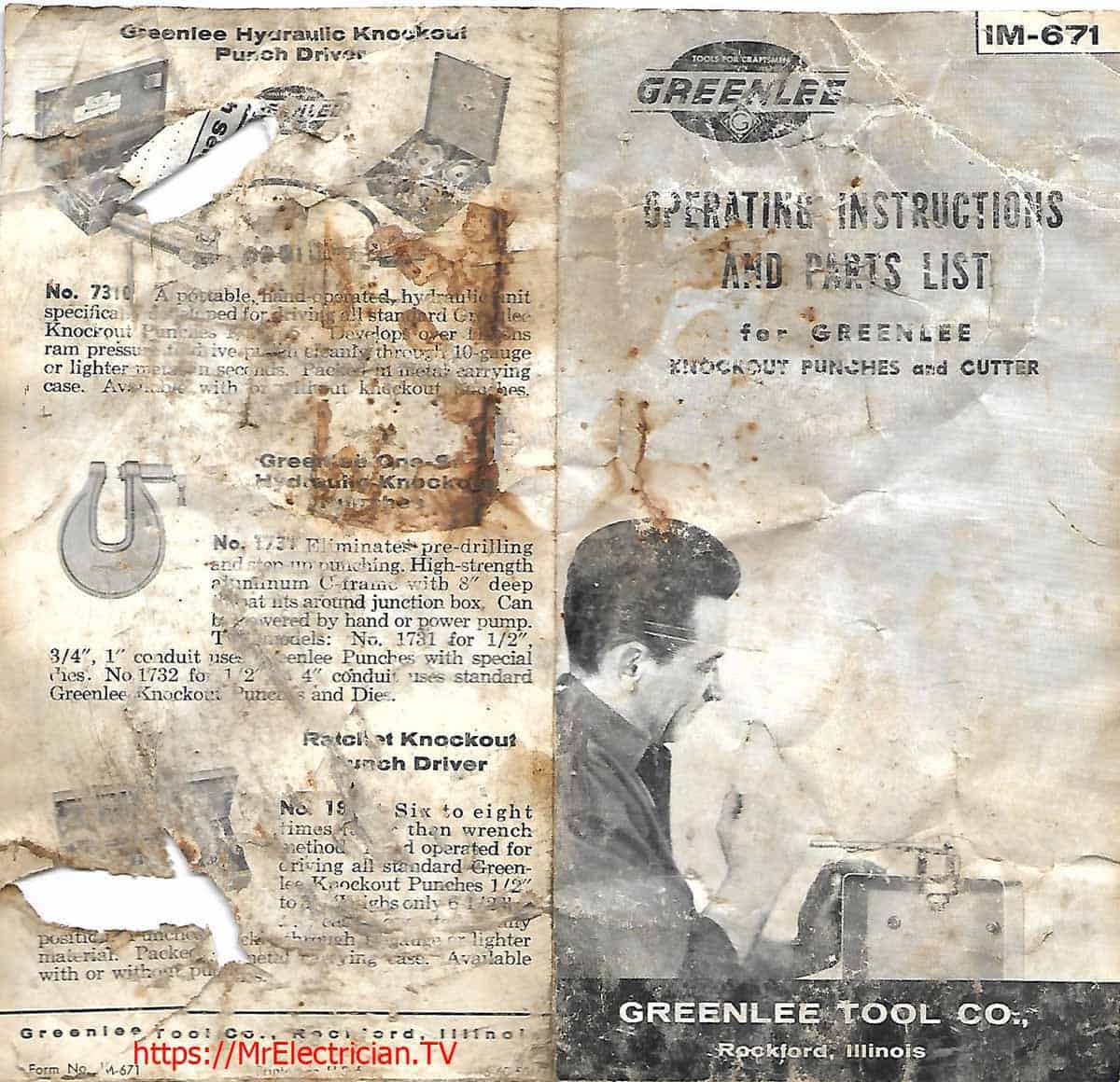 Front and back page of old operating instructions and parts list for Greenlee knockout punches and cutter
