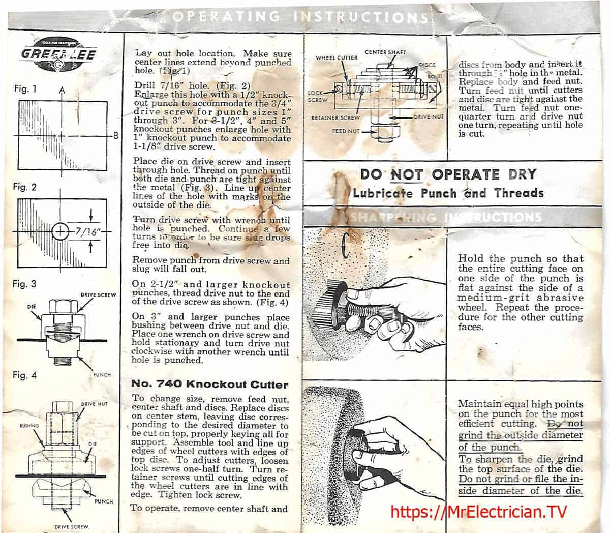 A section of an old operating manual for Greenlee hand knockout punches