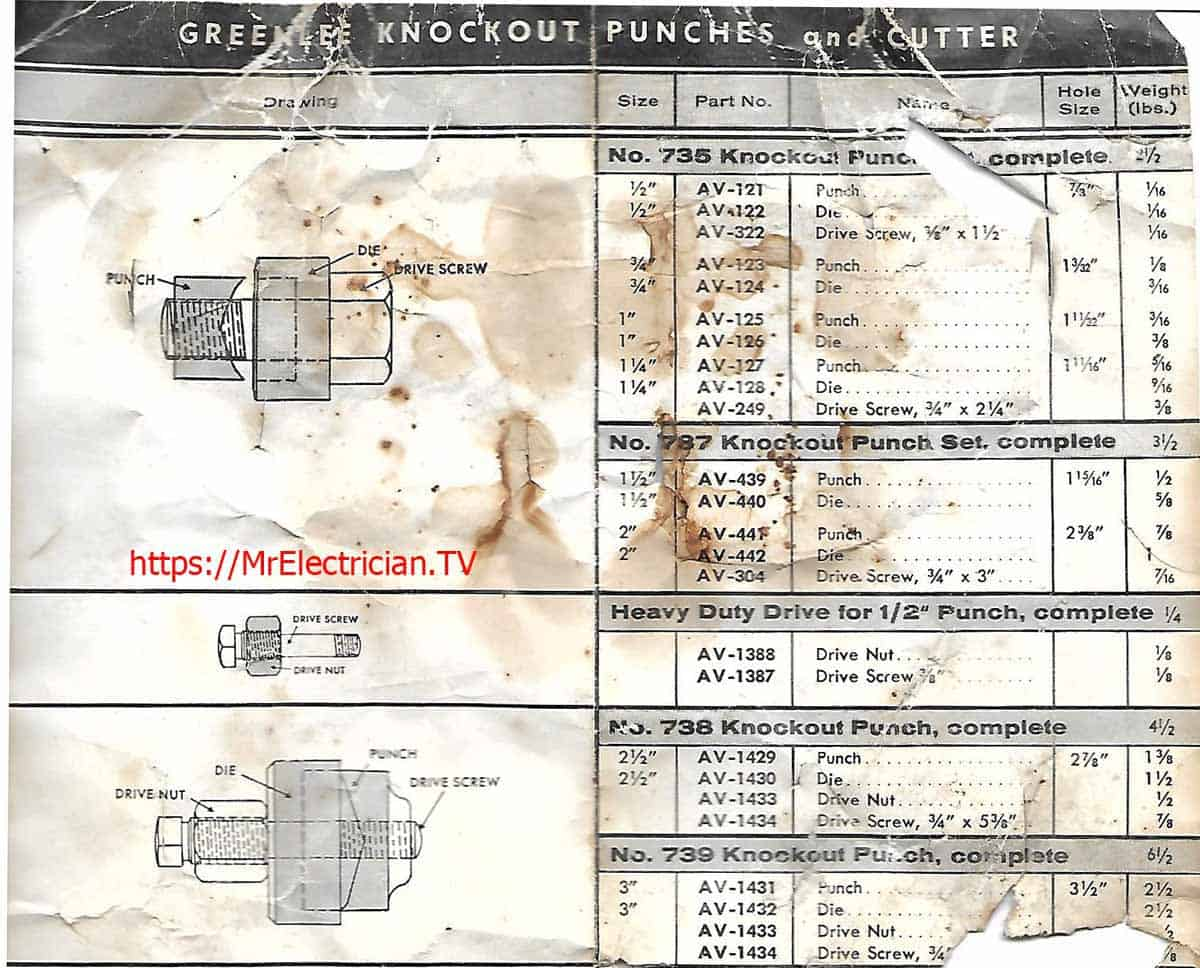 Piece of an old (Maybe 1960's) Greenlee Hand Knockout Punch operating instructions. Shown are dimensions of the knockout punch parts, and their Greenlee part numbers